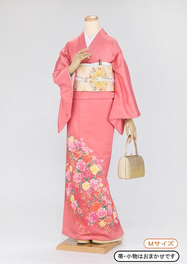 色留袖 レンタル 着物 ik08 濃ピンク バラの花 Mサイズ 結婚式 貸衣裳 貸衣装 和服 往復送料無料 【レンタル】