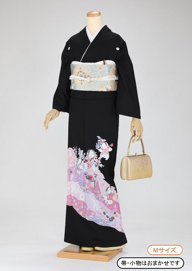 黒留袖 レンタル 着物 黒留袖 K47 御所人形柄 Mサイズ 結婚式 貸衣裳 貸衣装 和服 往復送料無料 【レンタル】