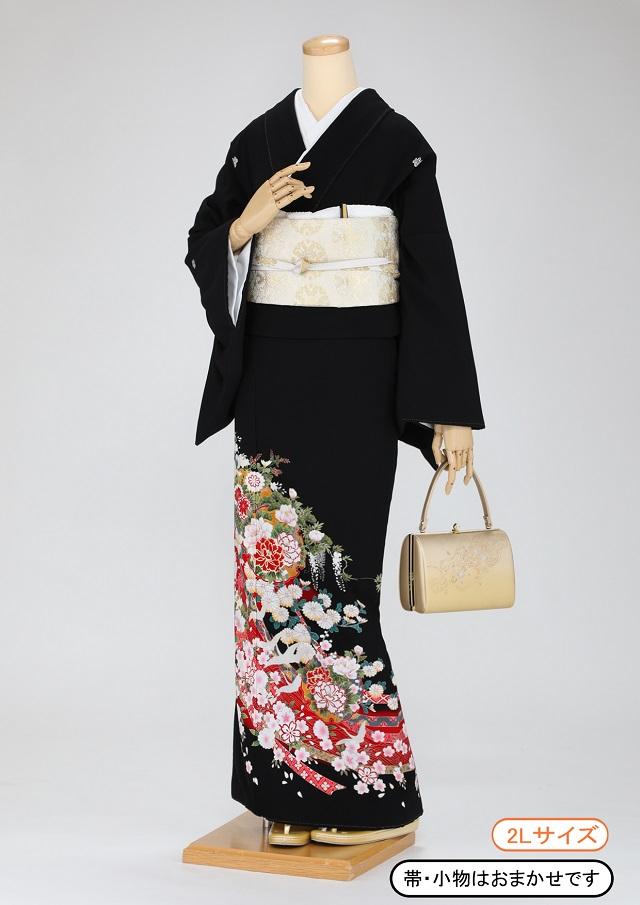 黒留袖 レンタル 着物 黒留袖 K54 赤ののしめに四季の花と鶴 2Lサイズ 結婚式 貸衣裳 貸衣装 和服 往復送料無料 【レンタル】