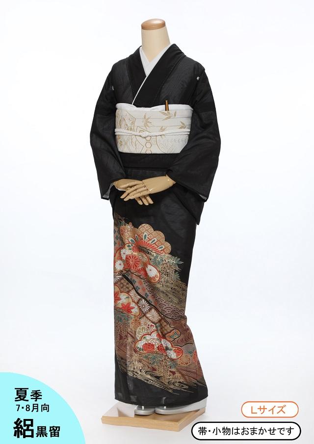 【レンタル】絽 黒留袖kr01 松型に花と波 Lサイズ