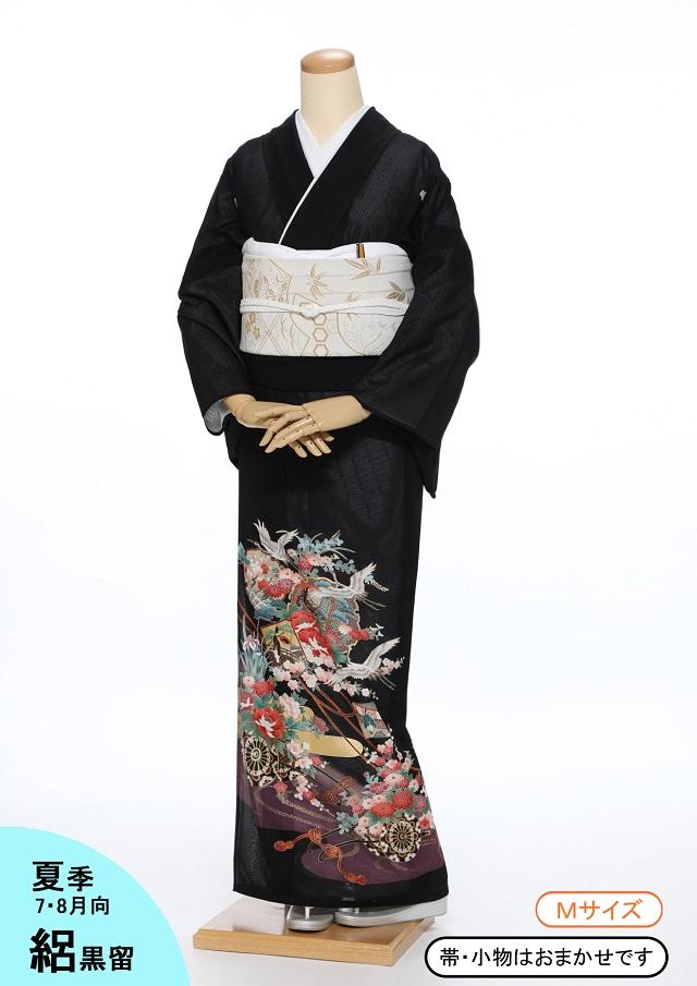 【レンタル】絽 黒留袖kr02 鳳凰に鶴の群れ Mサイズ