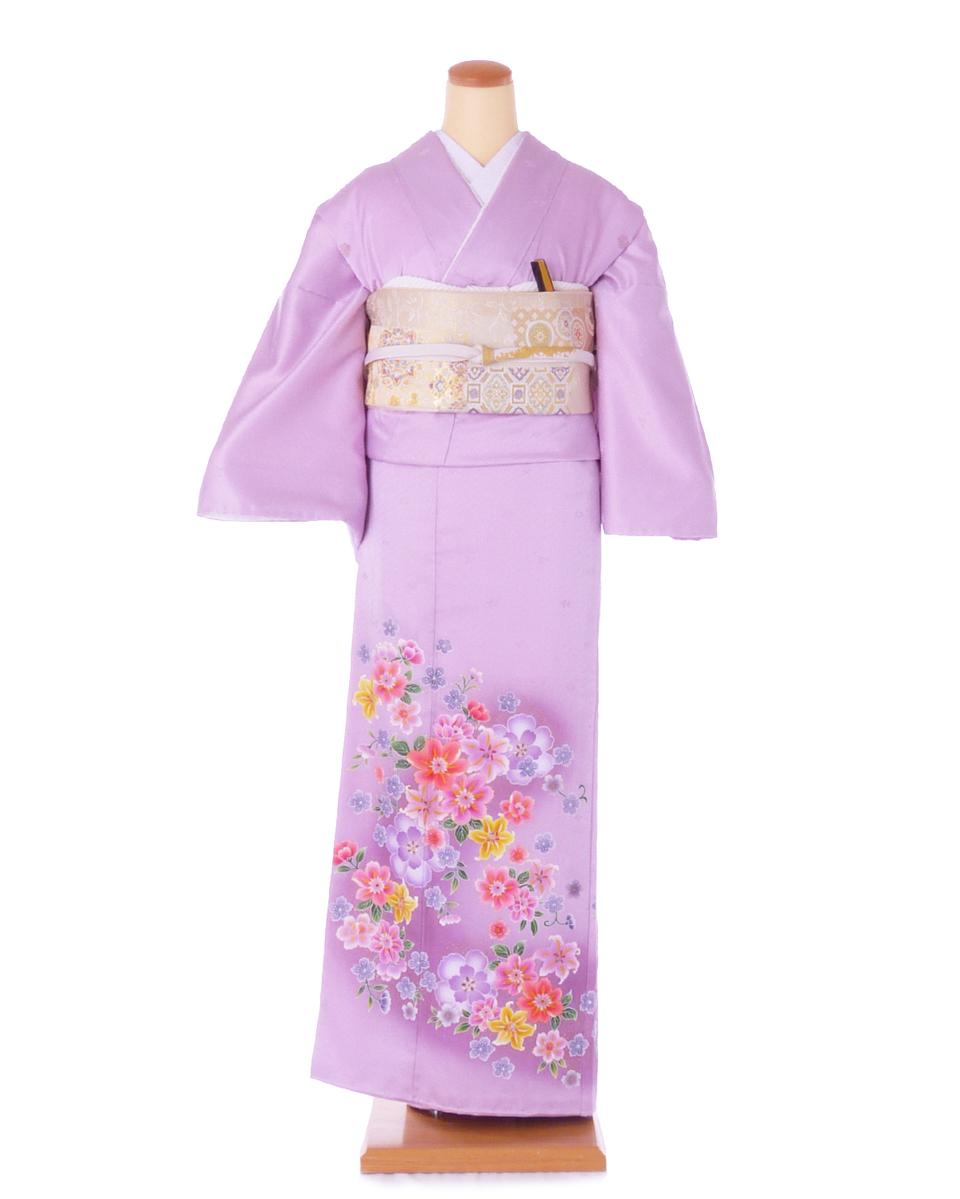 色留袖ik09 薄紫にユリの花 Lサイズ 往復送料無料 【レンタル】