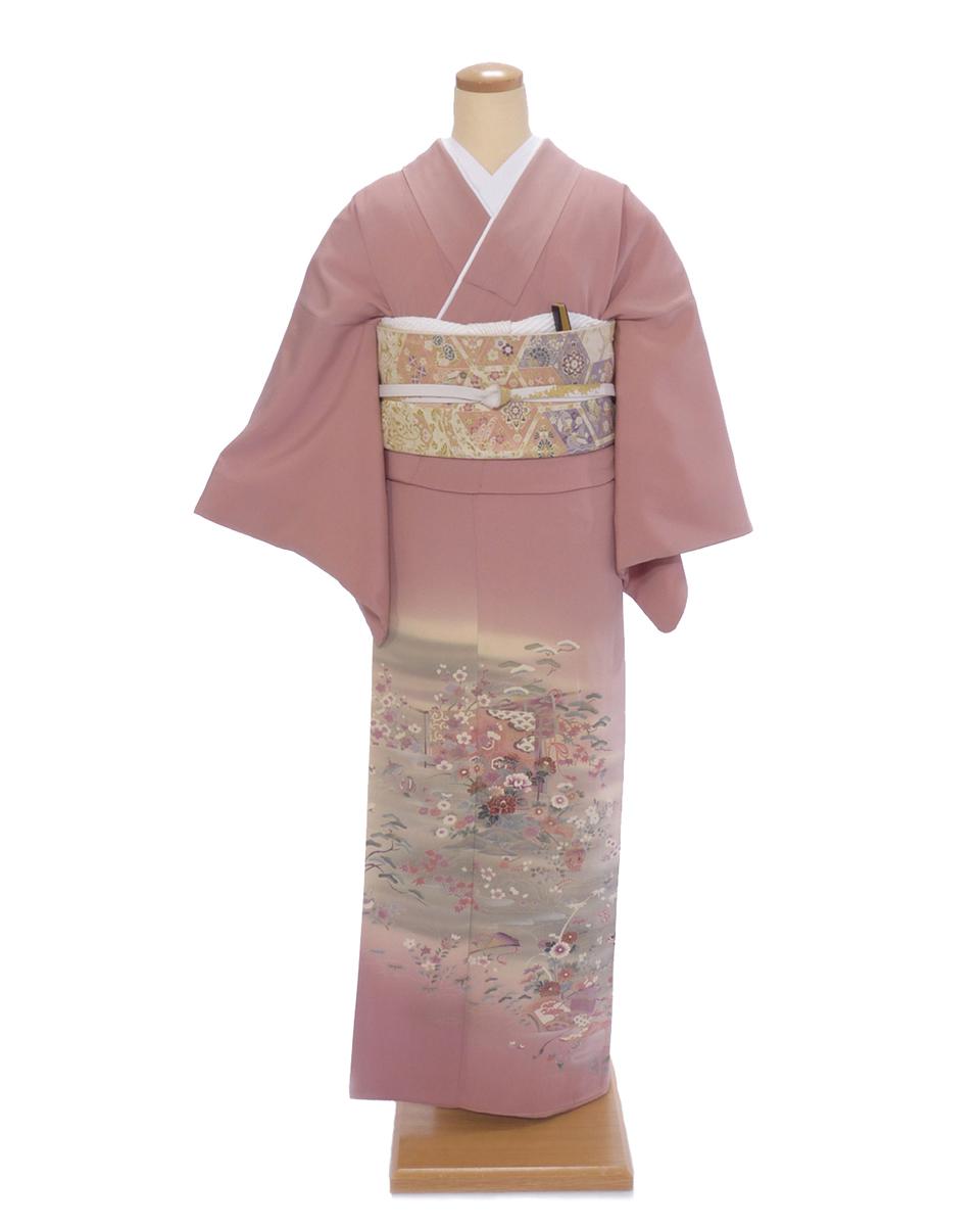 色留袖 レンタル is02 淡いピンクに河とり小花 Mサイズ 結婚式 貸衣装 往復送料無料 【レンタル】