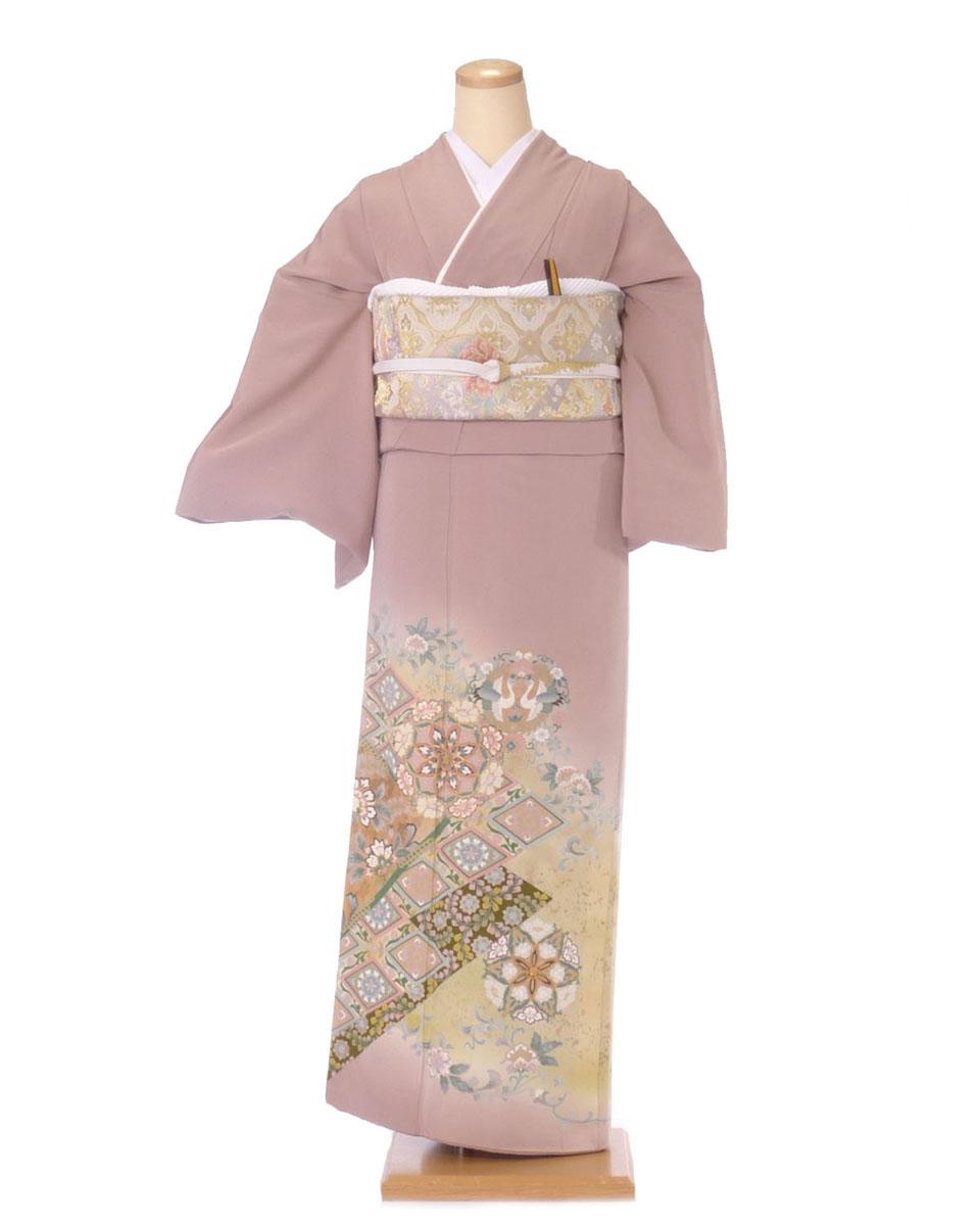 色留袖 レンタル is18 うすいあずき色に菱形柄 Lサイズ 結婚式 貸衣装 往復送料無料 【レンタル】