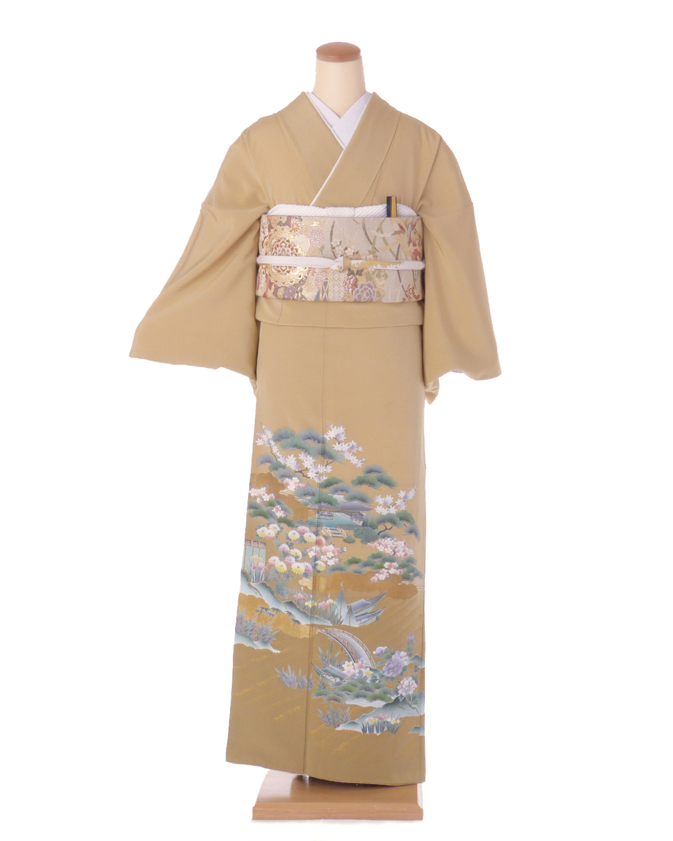 色留袖 レンタル is20 オークル系松と花 Tサイズ 結婚式 貸衣装 往復送料無料 【レンタル】