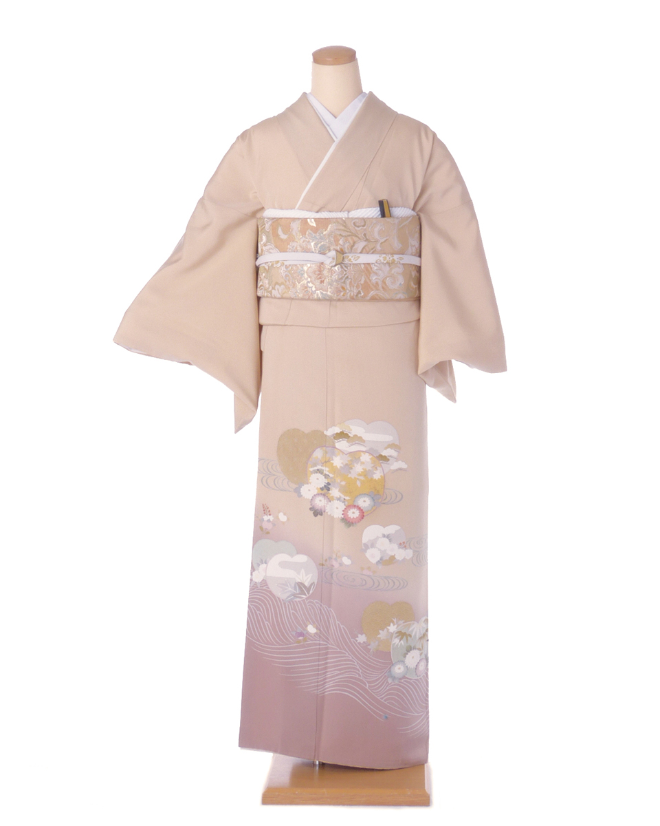 色留袖 レンタル is21 ベージュ裾薄茶に波模様・菊など Mサイズ 結婚式 貸衣装 往復送料無料 【レンタル】