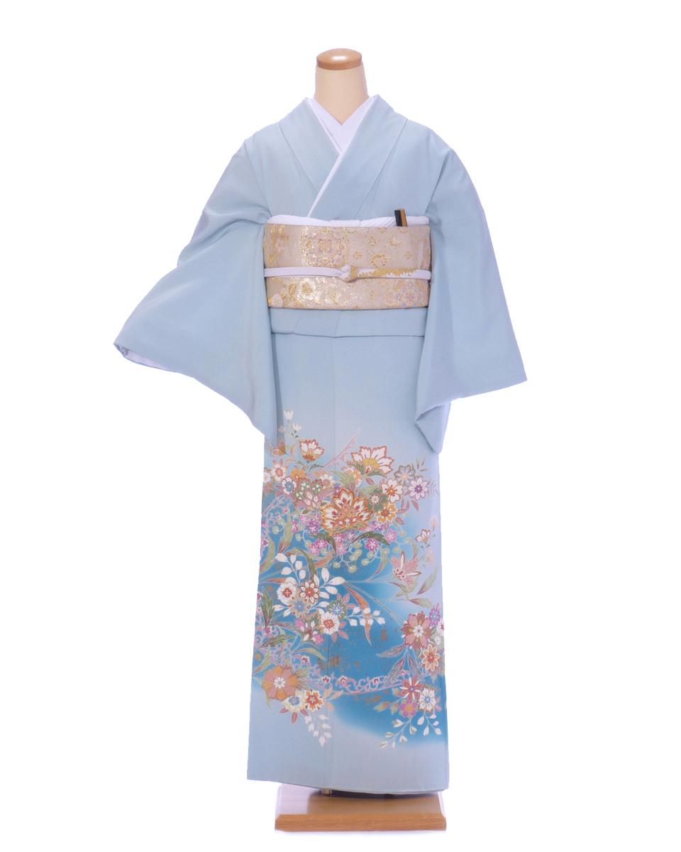 色留袖 レンタル is26 水色に裾ブルーぼかし花 Tサイズ 結婚式 貸衣装 往復送料無料 【レンタル】