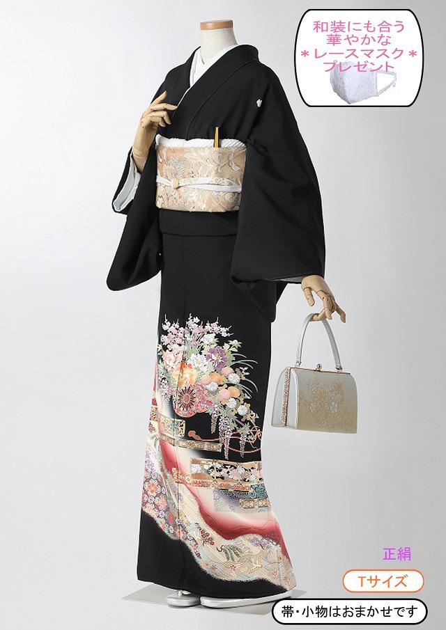 黒留袖 レンタル 着物 黒留袖 KS85 Tサイズ 赤ぼかしに花車  結婚式 貸衣裳 貸衣装 和服 往復送料無料 【レンタル】