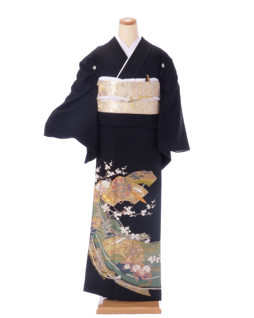 【レンタル】単衣黒留袖 kh06 グリーンゴールド 扇の中に鶴と菊 Lサイズ