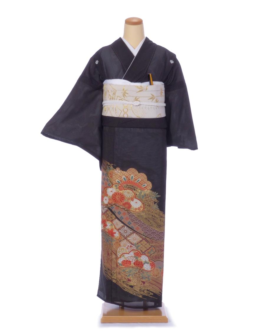 【レンタル】絽 黒留袖kr01 松型に花と波 Mサイズ