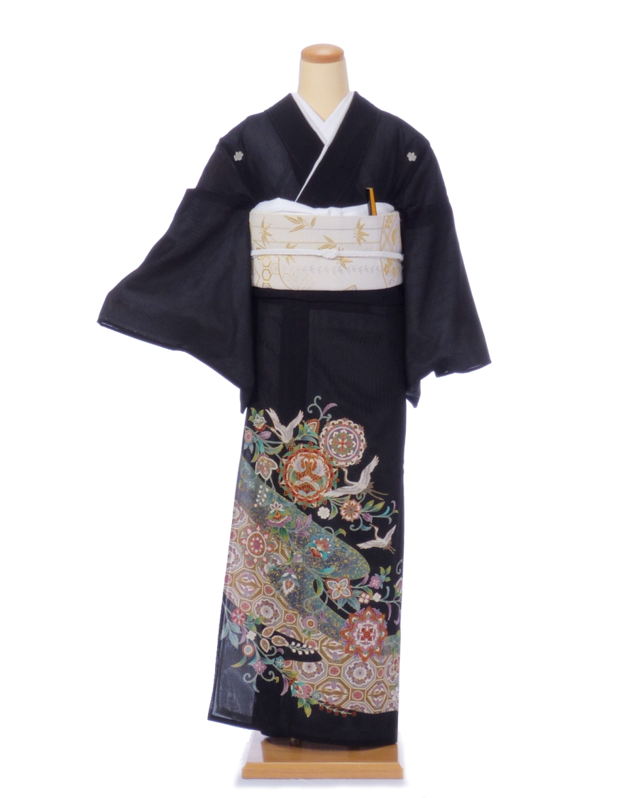 【レンタル】絽 黒留袖kr03 御所車と鶴平安調絵巻 Lサイズ