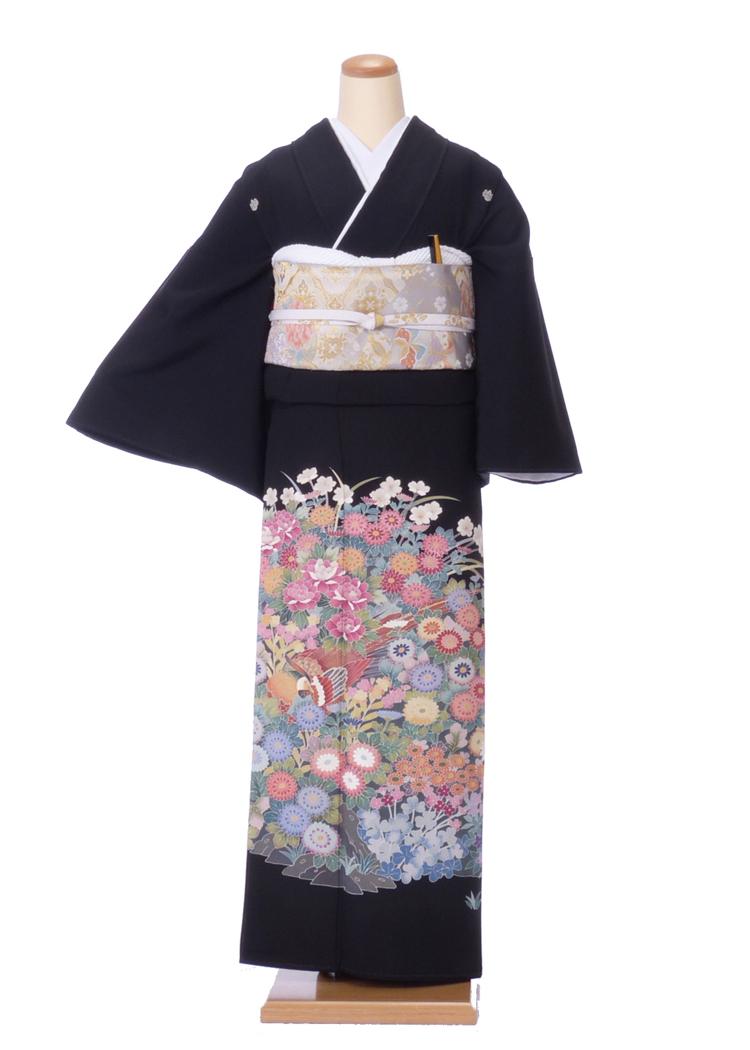 【レンタル】黒留袖 ks100 友禅 四季の花々と雉 Tサイズ