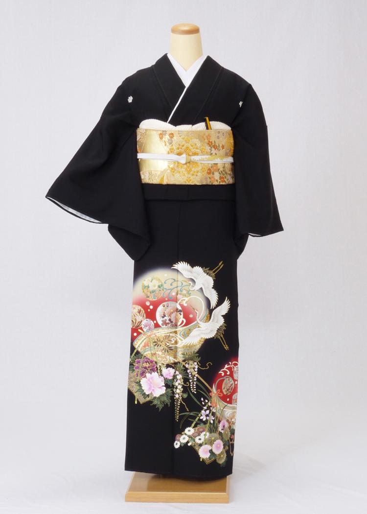 レンタル 着物 黒留袖 ks88 赤い丸に鶴と梅 Lサイズ 結婚式 貸衣装 往復送料無料 【レンタル】