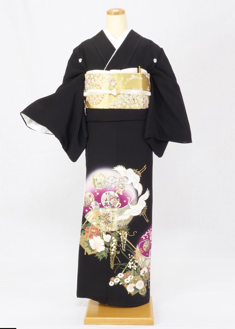 レンタル 着物 黒留袖 ks90 紫の丸に鶴と梅 Tサイズ 結婚式 貸衣装 往復送料無料 【レンタル】