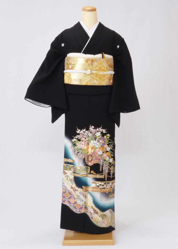 レンタル 着物 黒留袖 ks92 ブルーぼかしに華車と藤 Lサイズ 結婚式 貸衣装 往復送料無料 【レンタル】