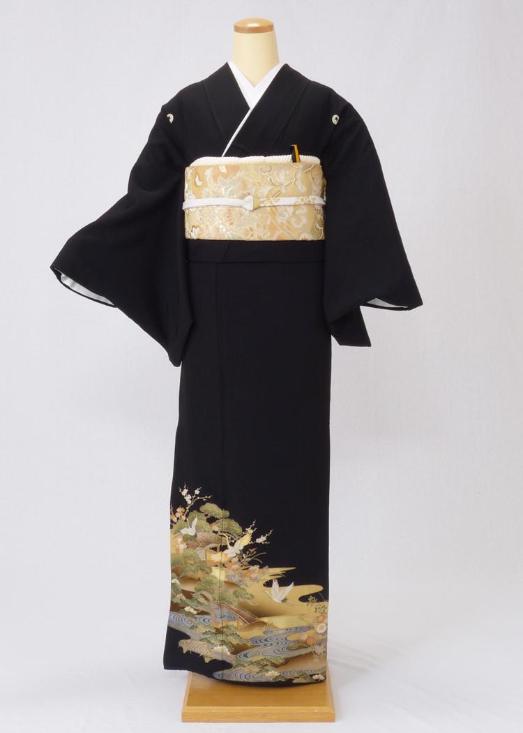 レンタル 着物 黒留袖 ks96 ベージュぼかしに鶴と松竹梅 Mサイズ 結婚式 貸衣装 往復送料無料 【レンタル】