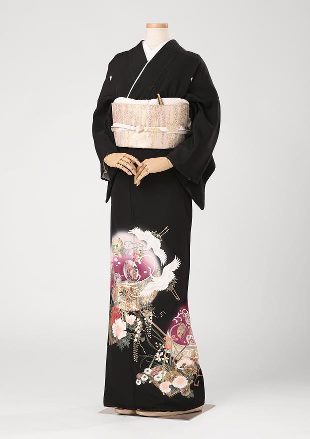 レンタル 着物 黒留袖 ks90 紫の丸に鶴と梅 Lサイズ 結婚式 貸衣装 往復送料無料 【レンタル】