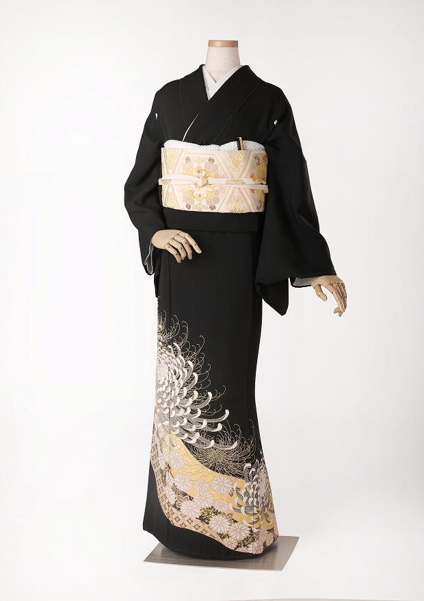 レンタル 着物 黒留袖 ks95 シルバーゴールドの大菊 Tサイズ 結婚式 貸衣装 往復送料無料 【レンタル】