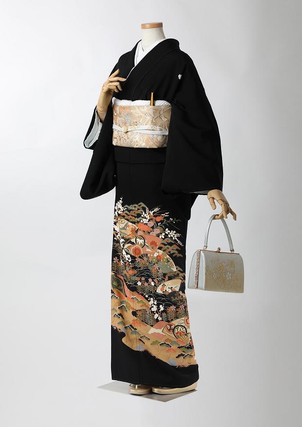 レンタル 着物 黒留袖 ks97 茶系扇と梅と松 Mサイズ 結婚式 貸衣装 往復送料無料 【レンタル】