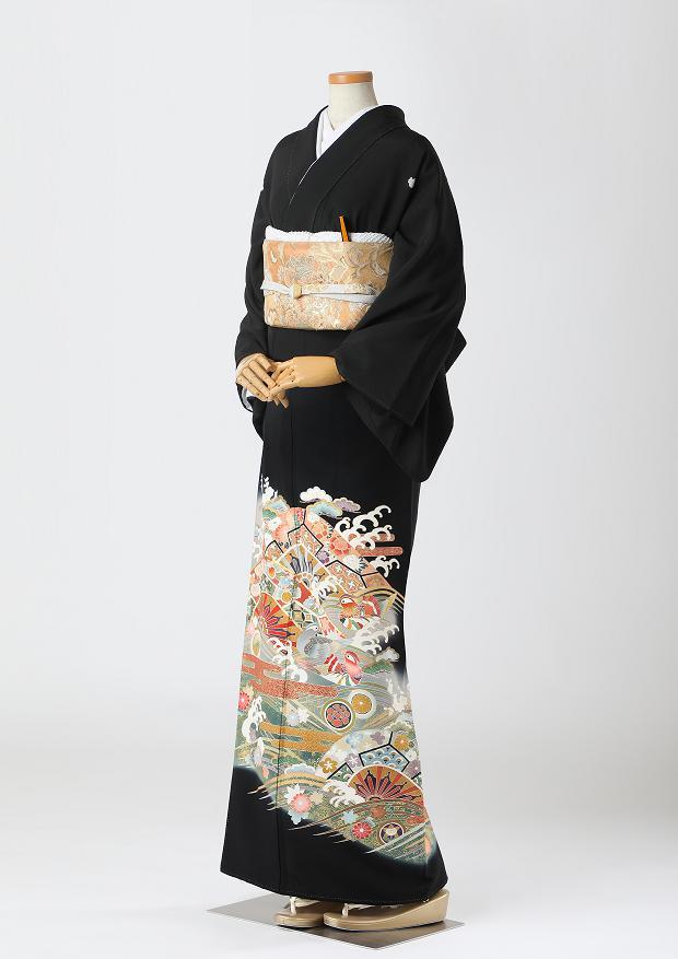 レンタル 着物 黒留袖 ks98 宝尽くしに家紋柄とおしどり Lサイズ 結婚式 貸衣装 往復送料無料 【レンタル】