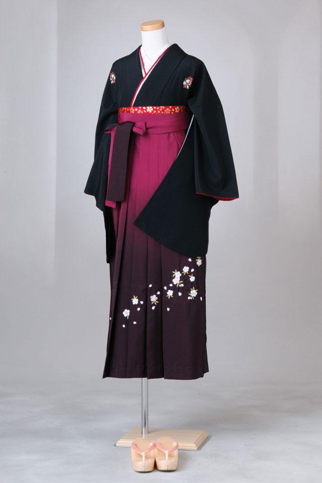 卒業式 袴 レンタル 12点セット 送料無料 gr13 黒地に花紋 Mサイズ