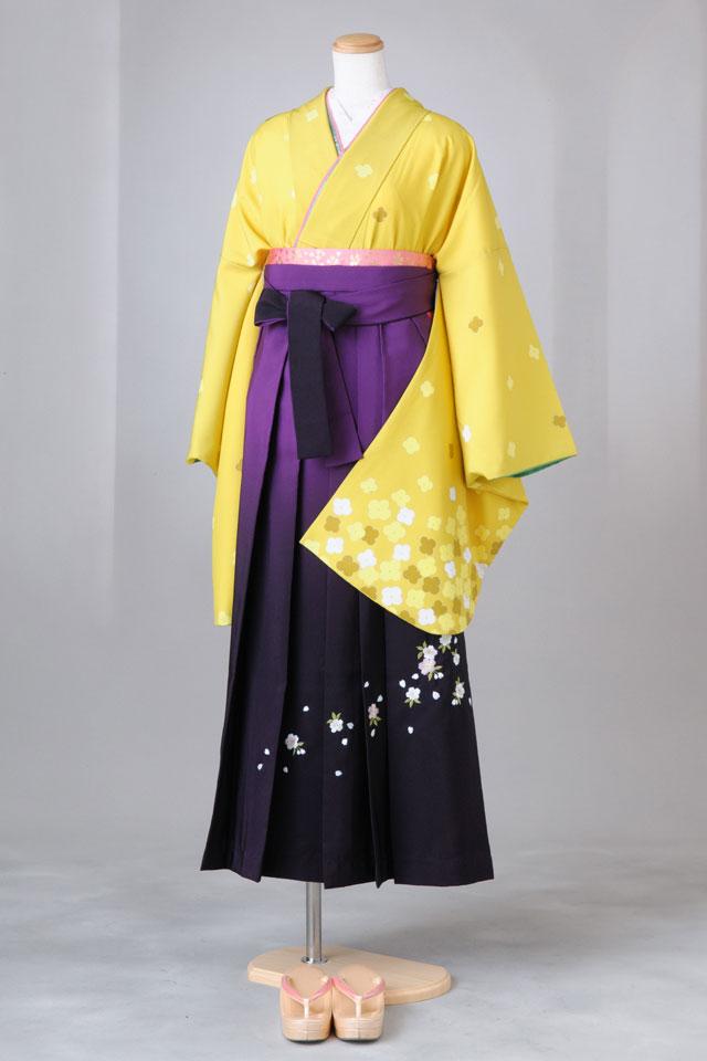 卒業式 袴 レンタル 12点セット 送料無料 gr27 黄地に小桜 LLサイズ