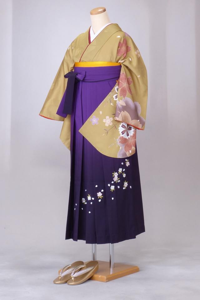 卒業式 袴 レンタル 12点セット 送料無料 gr34 渋いからしに袖大桜 Lサイズ
