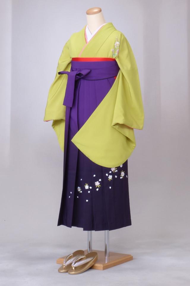 卒業式 袴 レンタル 12点セット 送料無料 gr37 ライム色に花と蝶 Lサイズ