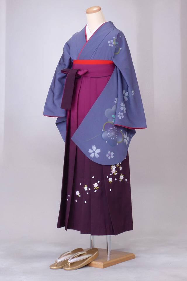 卒業式 袴 レンタル 12点セット 送料無料 gr40 ブルーグレー地 袖に桜 Lサイズ