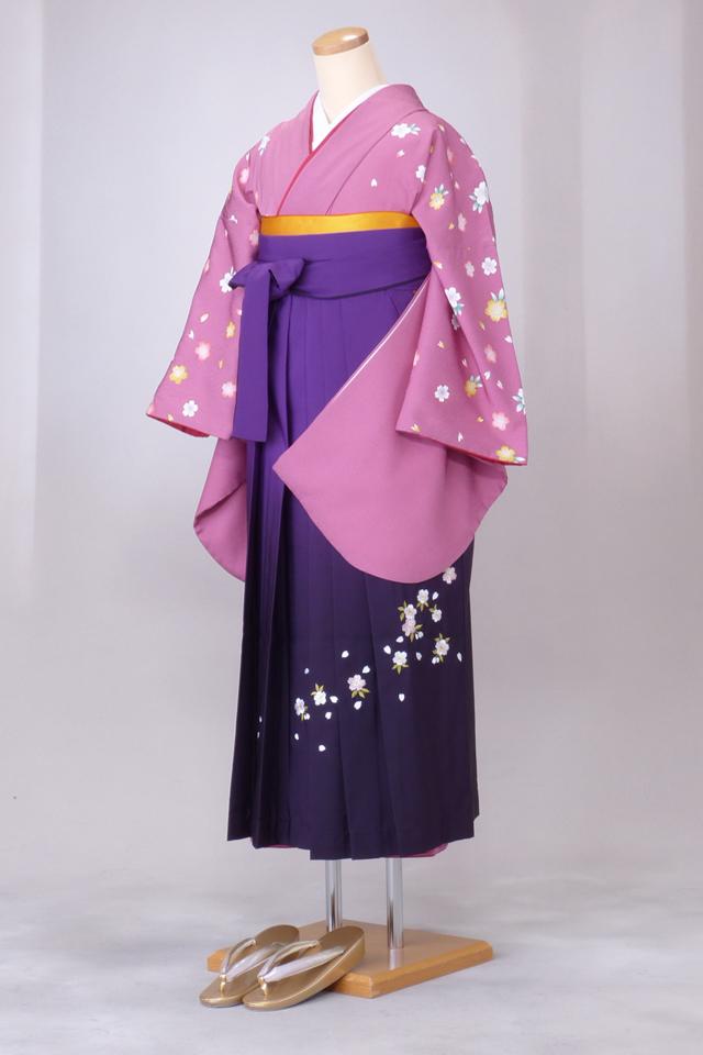 卒業式 袴 レンタル 12点セット 送料無料 gr50 ピンクに桜 Lサイズ