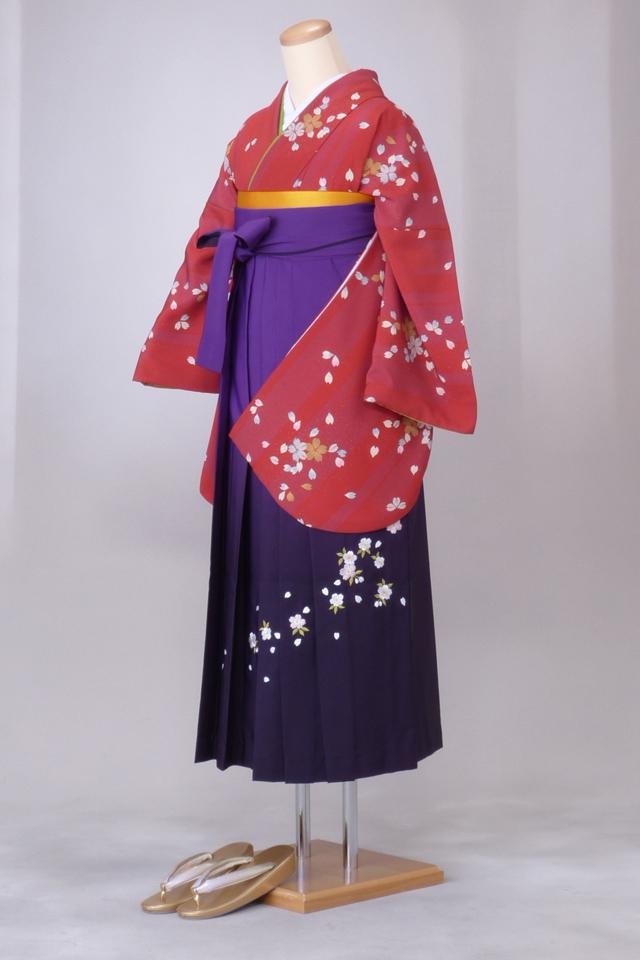 卒業式 袴 レンタル 12点セット 送料無料 gr53 縦縞地模様に桜柄