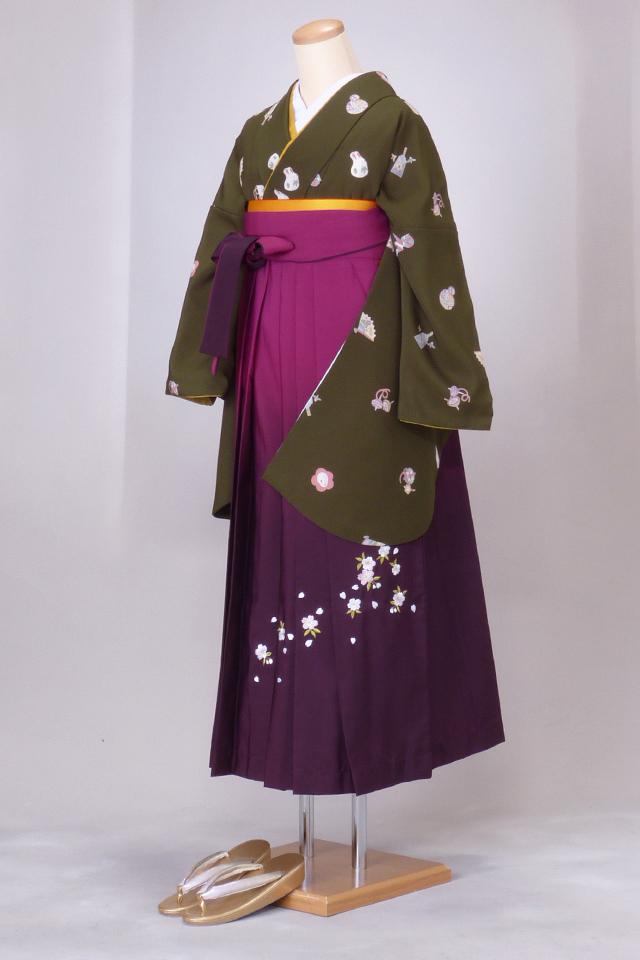 卒業式 袴 レンタル 12点セット 送料無料 gr067 モスグリーンにうさぎ・折り鶴・毬・羽子板