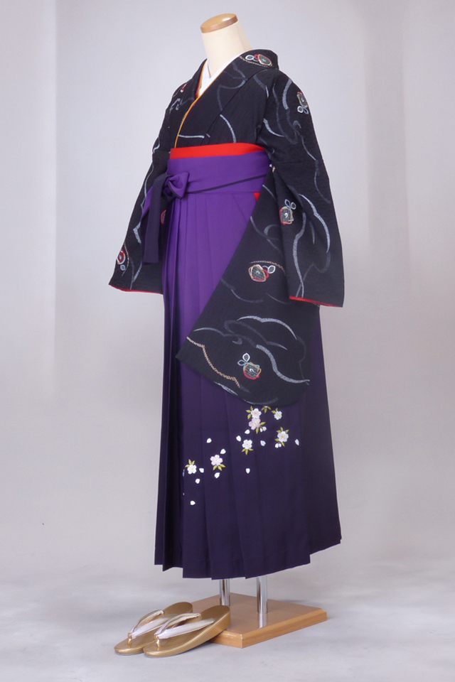 卒業式 袴 レンタル 12点セット 送料無料 gr68 黒地四角いお花 Lサイズ