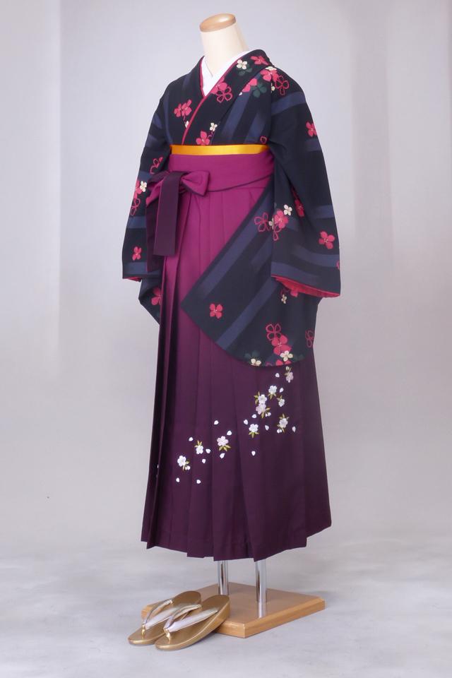 卒業式 袴 レンタル 12点セット 送料無料 gr70 黒地にピンクの花 Lサイズ