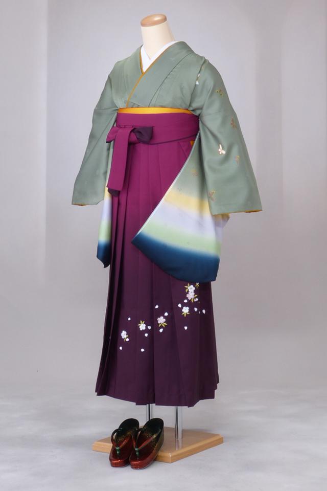 卒業式 袴 レンタル 12点セット 送料無料 gr75 緑袖グラデーション Lサイズ