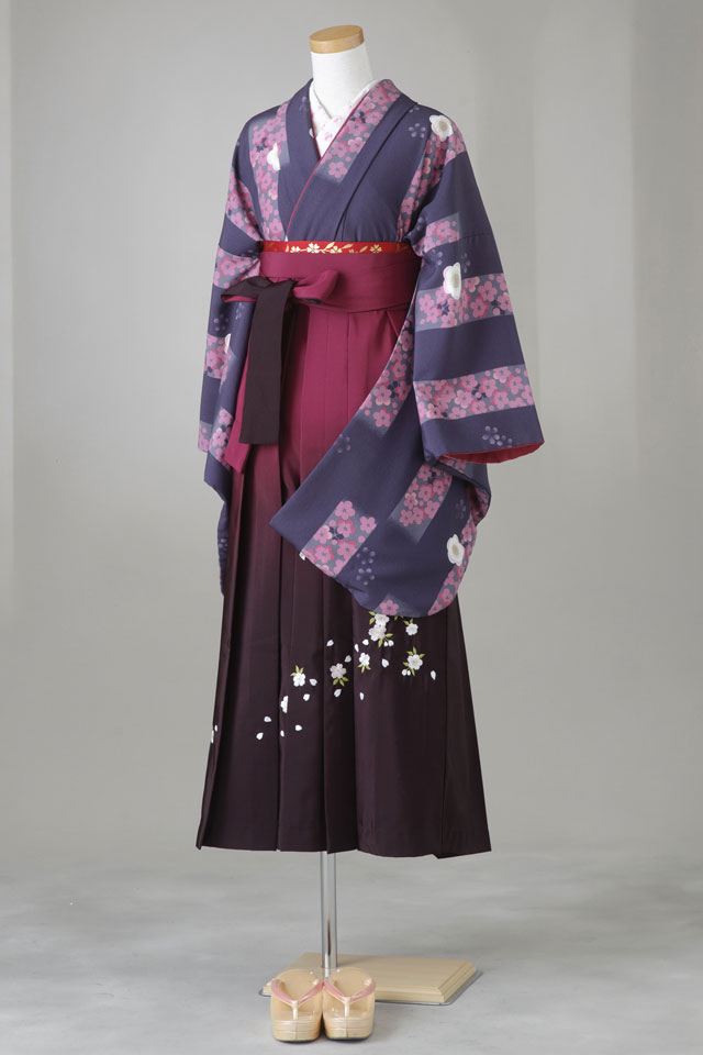 卒業式 袴 レンタル 12点セット 送料無料 gr78 紫 全体にピンク小花 桜柄 Lサイズ