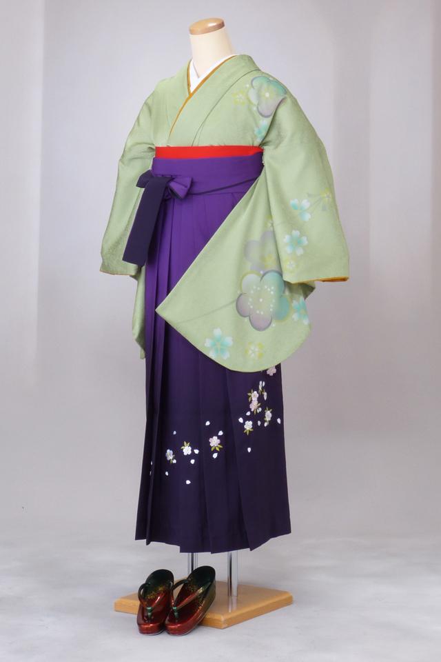 卒業式 袴 レンタル 12点セット 送料無料 gr81 うぐいす色に胸元袖に梅桜 Lサイズ
