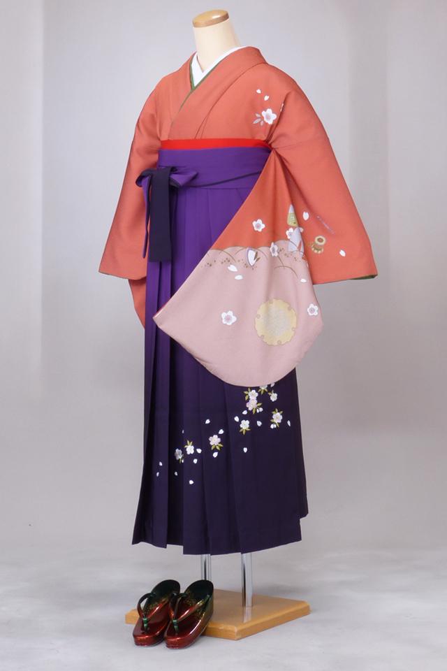 卒業式 袴 レンタル 12点セット 送料無料 gr82 サーモンピンク袖にお雛様 Lサイズ