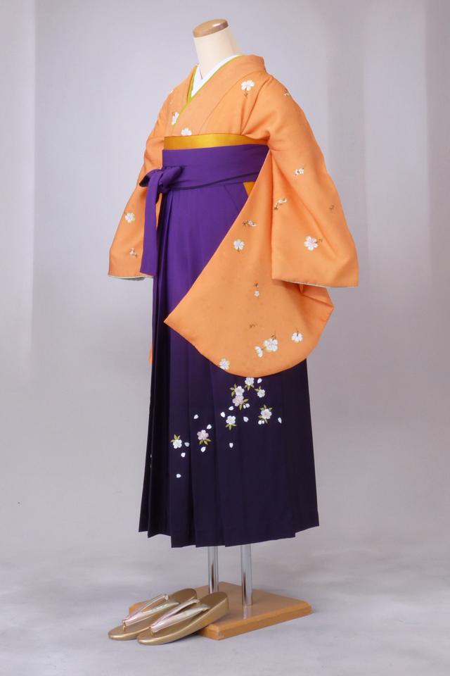 卒業式 袴 レンタル 12点セット 送料無料 gr96 くすんだオレンジに全体桜 Mサイズ