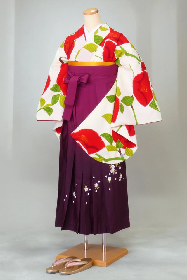 卒業式 袴 レンタル 12点セット 送料無料 gr158 白地に赤椿