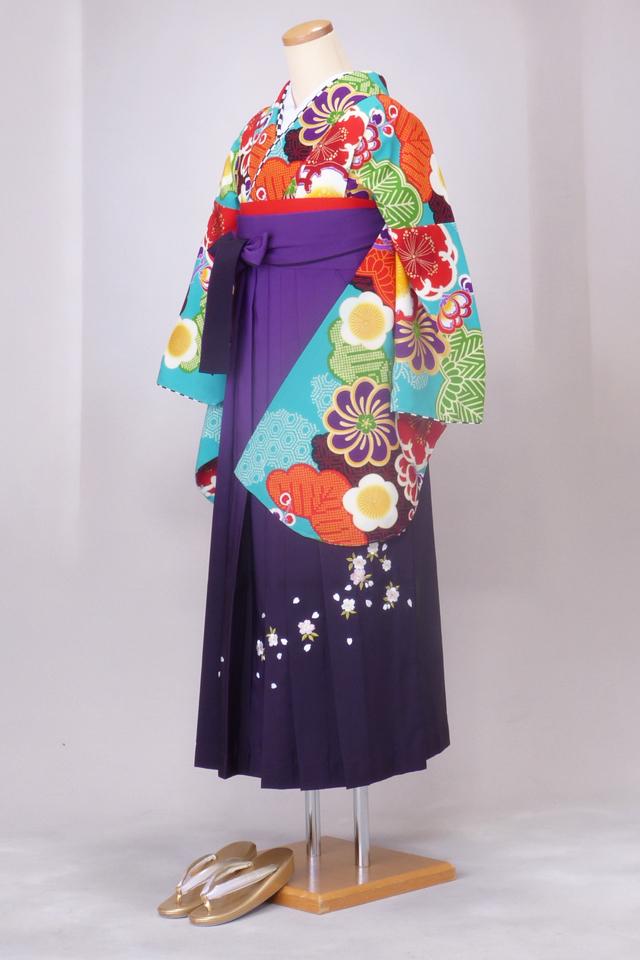 卒業式 袴 レンタル 12点セット 送料無料 gr162 あさぎ色に梅と松