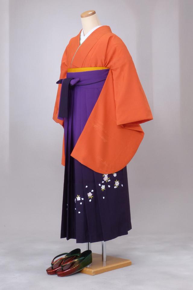 卒業式 袴 レンタル 12点セット 送料無料 gr7 オレンジ Mサイズ