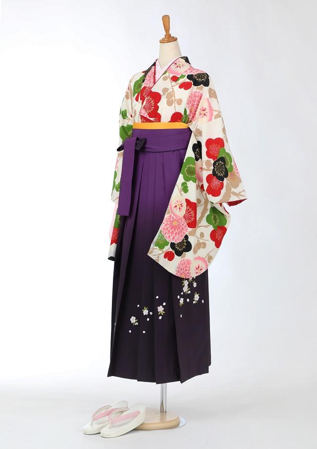 卒業式 袴 レンタル 12点セット 送料無料 gr165 クリーム地に梅と菊