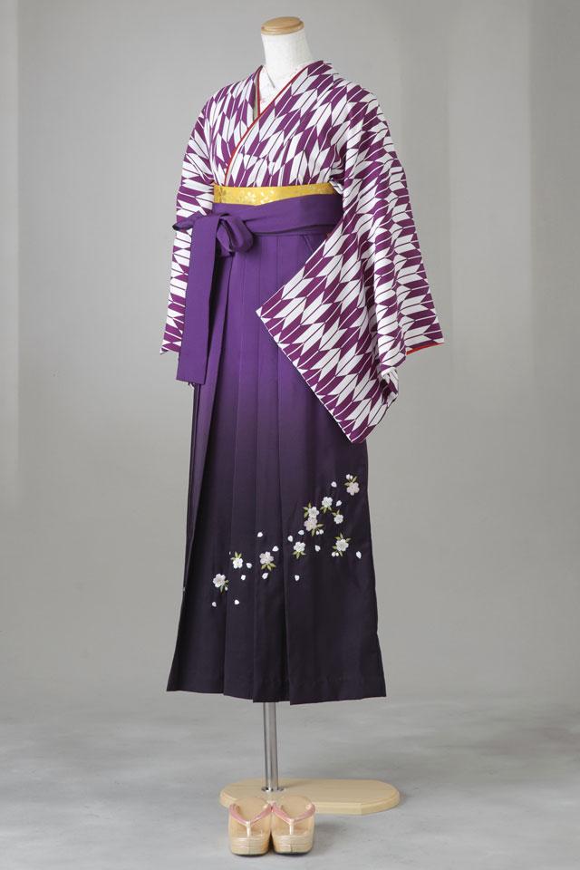 卒業式 袴 レンタル 12点セット 送料無料 gy002 紫×白の矢がすり(大柄) Mサイズ
