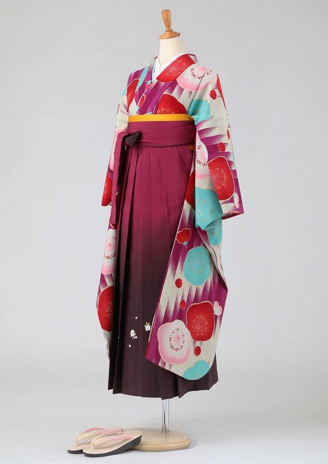 卒業式 袴 レンタル 12点セット 送料無料 gfk084 ベージュ地に紫のかすり梅模様 振袖