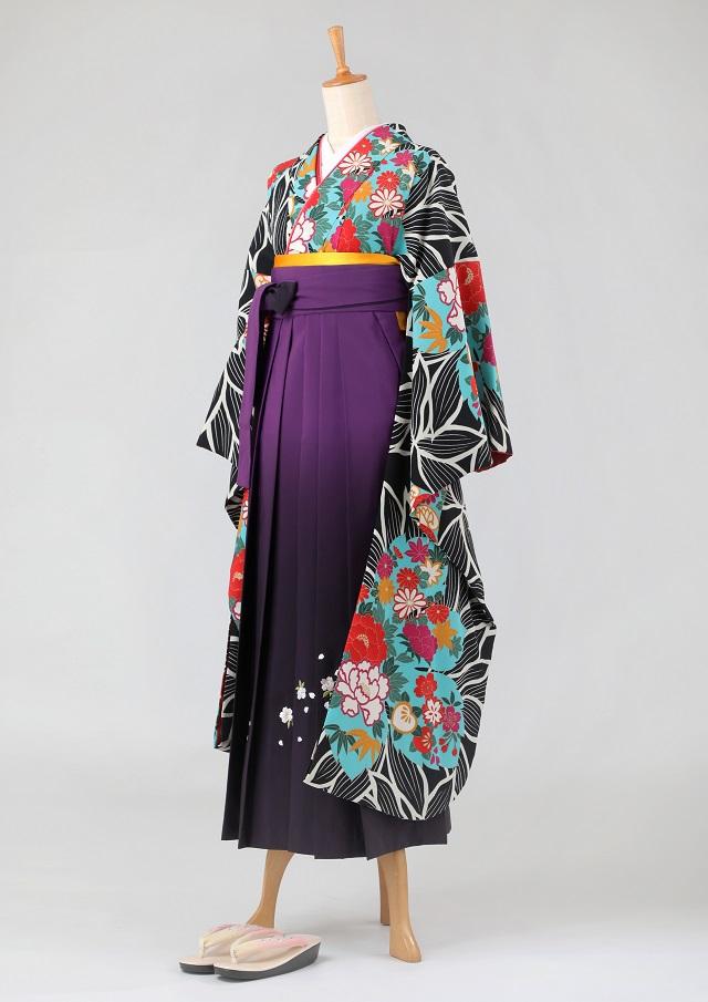 卒業式 袴 レンタル 12点セット 送料無料 gfk085 四季牡丹 黒 振袖