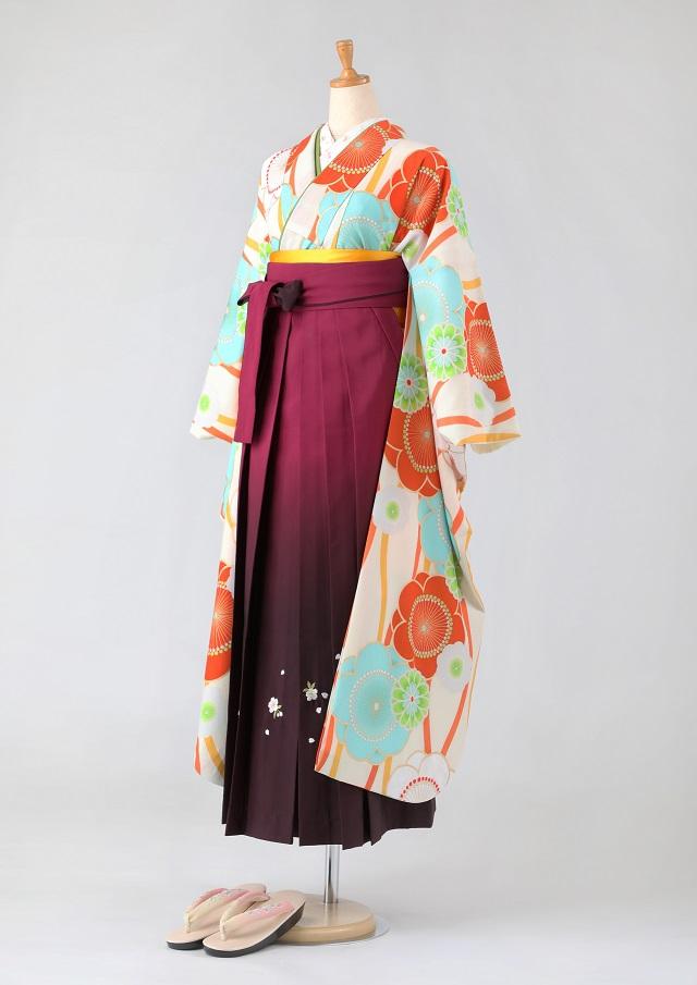 卒業式 袴 レンタル 12点セット 送料無料 gfk089 紅一点 生成にオレンジと水玉の梅 振袖