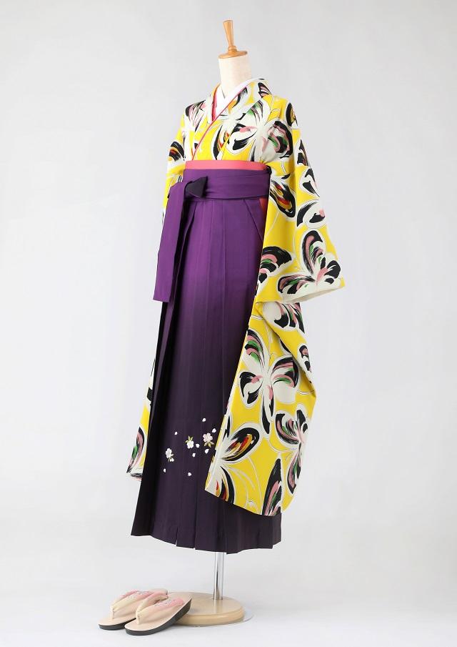 卒業式 袴 レンタル 12点セット 送料無料 gfk091 黄色にモダンな蝶々 振袖
