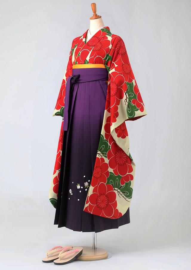 卒業式 袴 レンタル 12点セット 送料無料 gfk094 生成に大きな梅と松 振袖
