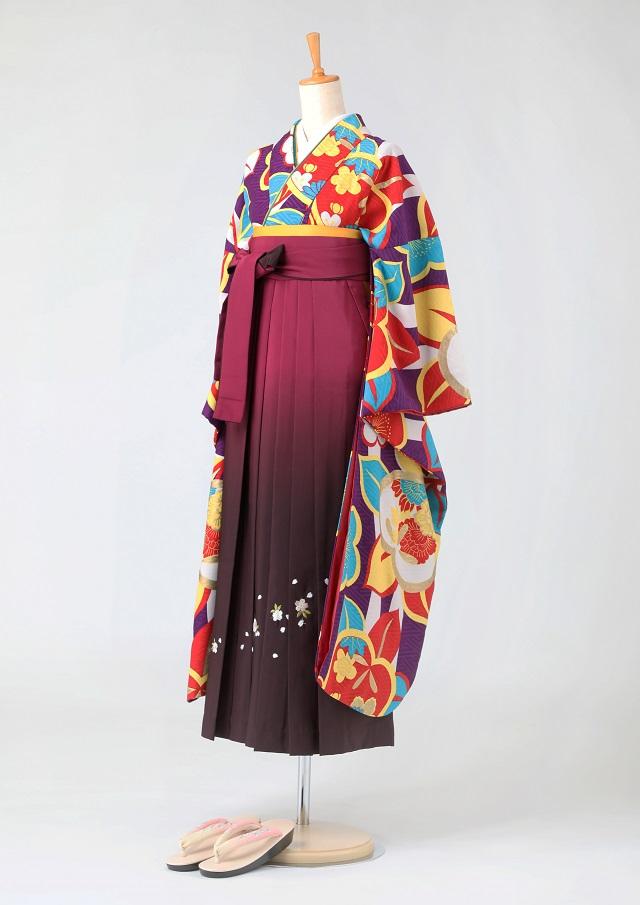 卒業式 袴 レンタル 12点セット 送料無料 gfk096 紅一点 紫地に赤や黄色の花々 振袖